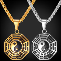 Chinese Taoism Sign Ancient Eight Diagrams Pendant Necklace Charms Jewelry Stainless Steel 18K Real Gold Plated