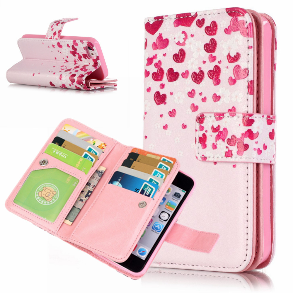 wallet phone case iphone 5 floral painted leather for iphone 5s wallet 18168