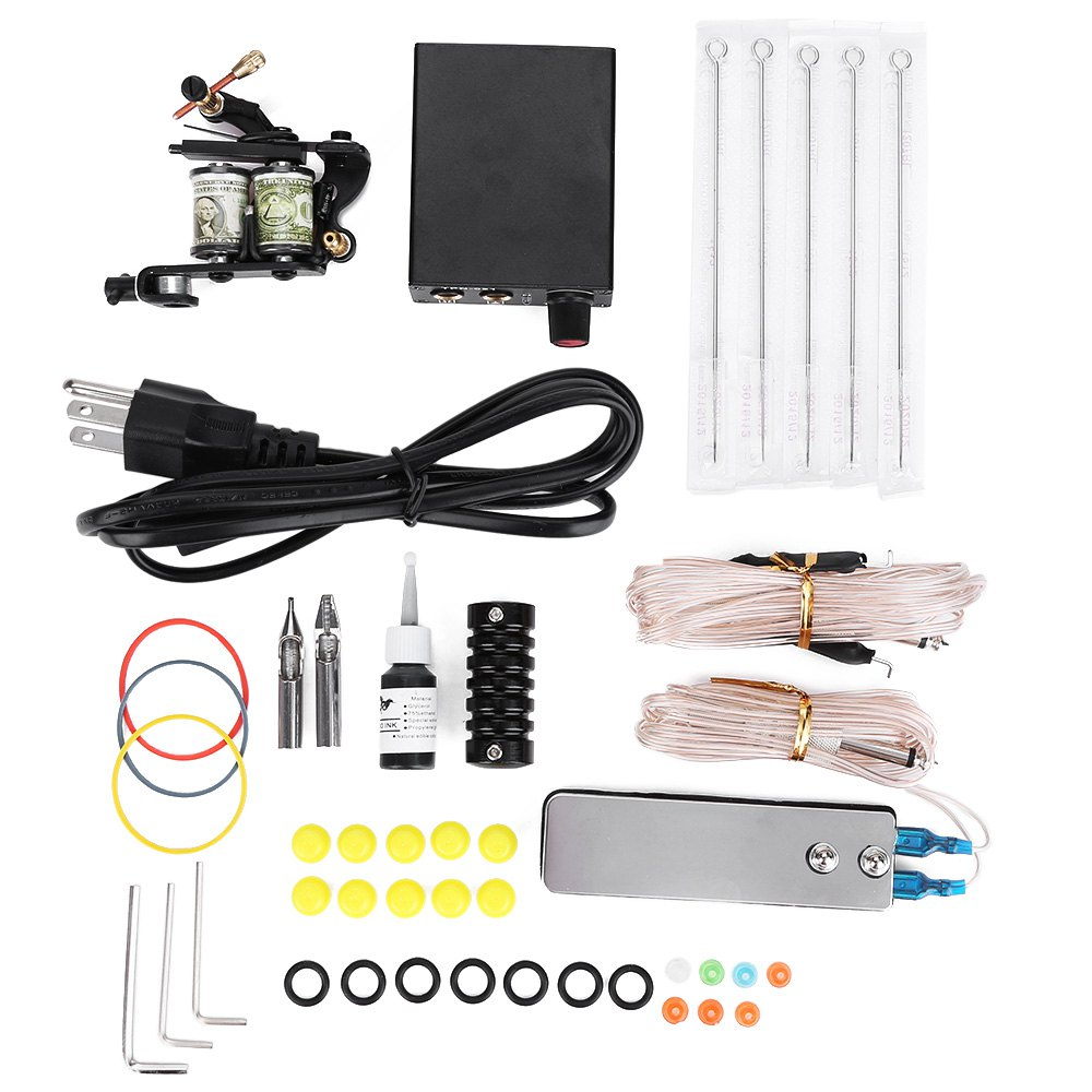 High Quality Complete Tattoo Kit Equipment Machine 5 Needles With Three Pin Us Plug Power Supply Gun Color Ink Set Hot Selling карандаши восковые мелки пастель maped карандаши color peps 12 цветов с точилкой