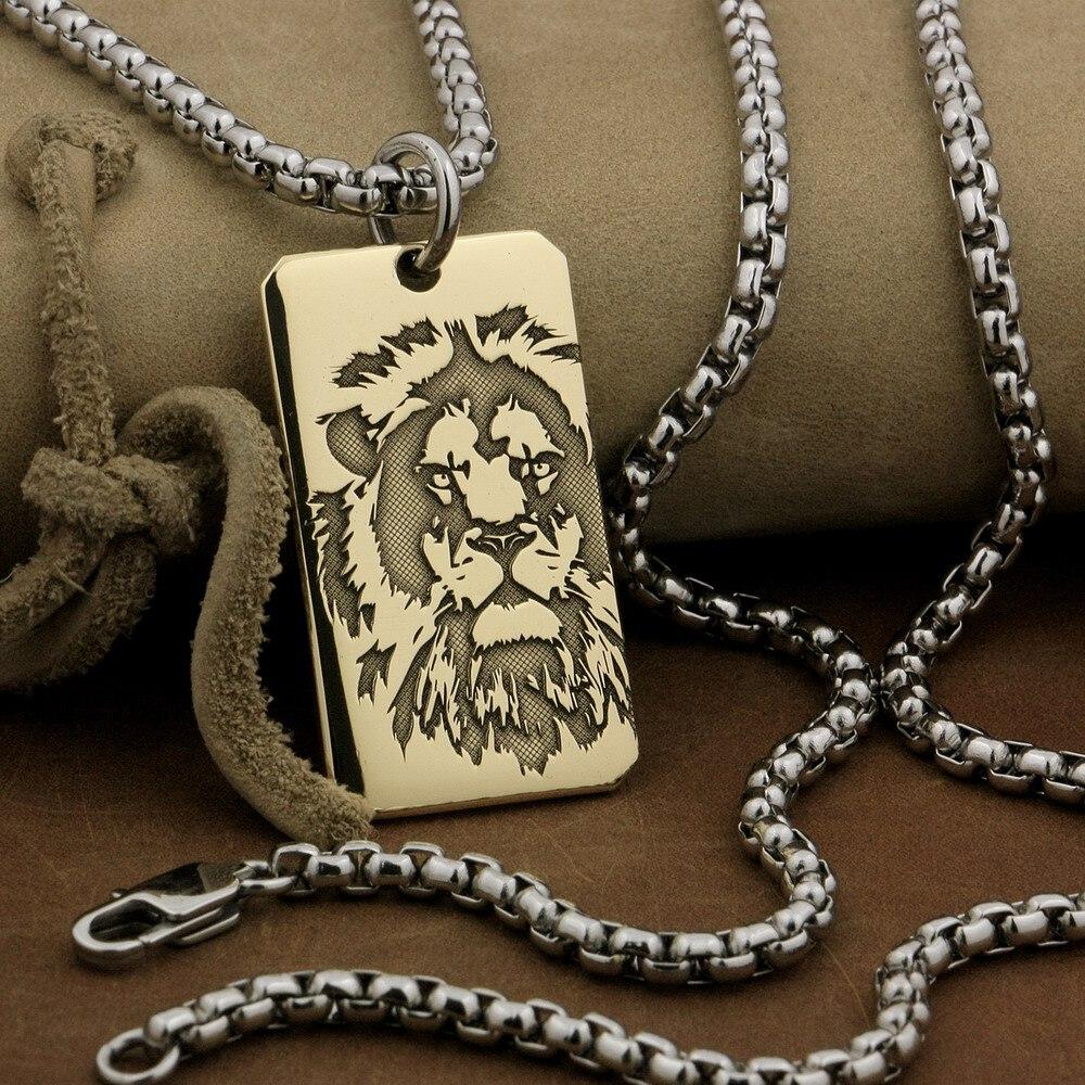 LINSION High Detail Deep Laser Engraved Brass Lion King Pendant Mens Biker Rock Punk Style 9X021B Stainless Steel Necklace 24