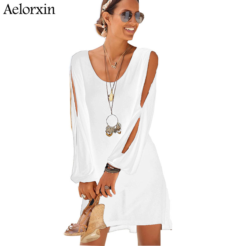 summer dress 2019 V-neck loose strapless long sleeveswomen dress plus size sexy party dress Casual sports beach dress