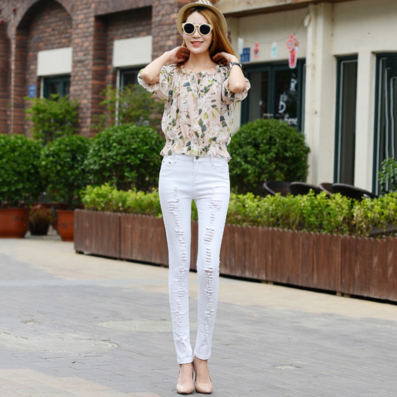 Women`s Distressed Curvy White Mid High Waist Stretch Denim Pants Ripped Skinny Jeans For Woman Jean image