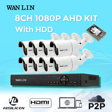 WANLIN 8CH 1080P CCTV System 8Pcs Sony IMX323 Outdoor AHD Camera 1080P AHD DVR Video Security Surveillance System Plug and Play