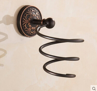 High Quality Black Oiled Brushed Hair Dryer Rack Brass Material Hair Dryer Holder Wall Mounted Antique