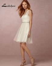 Fashion V-neck A-line Short Wedding Dresses with Sash Robe de Mariee Lace Mini Reception Gowns louisvuigon Custom Made