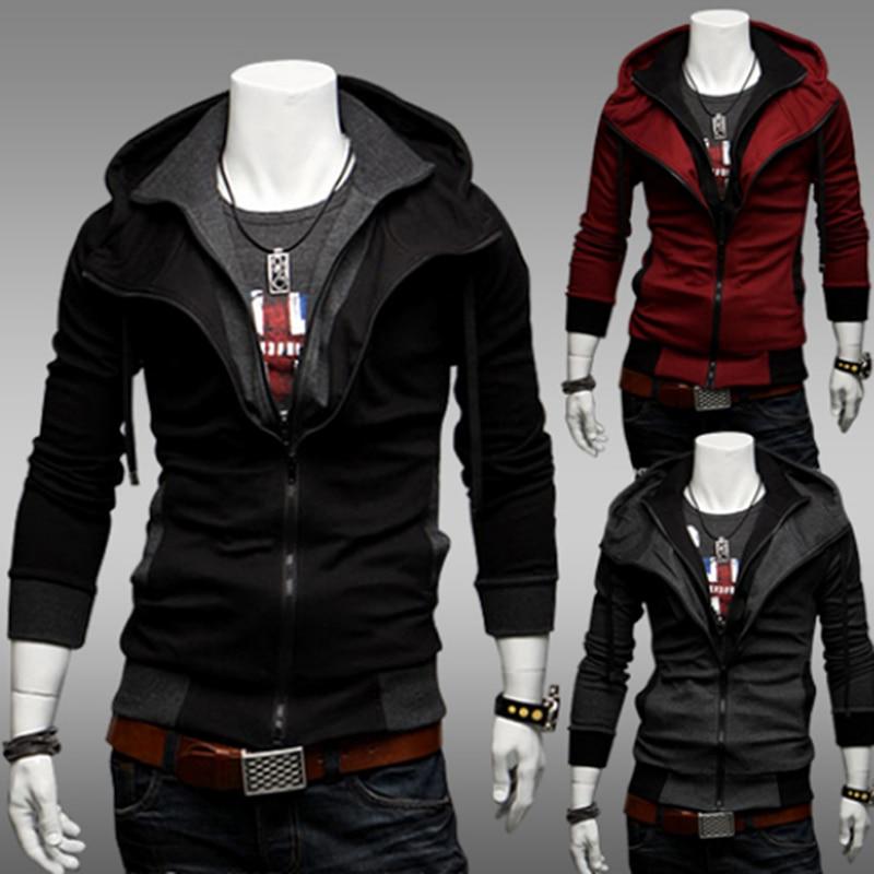 Bigsweety moda 2018 novo outono inverno jaqueta masculina cor correspondência jaqueta masculina casaco com capuz outwear
