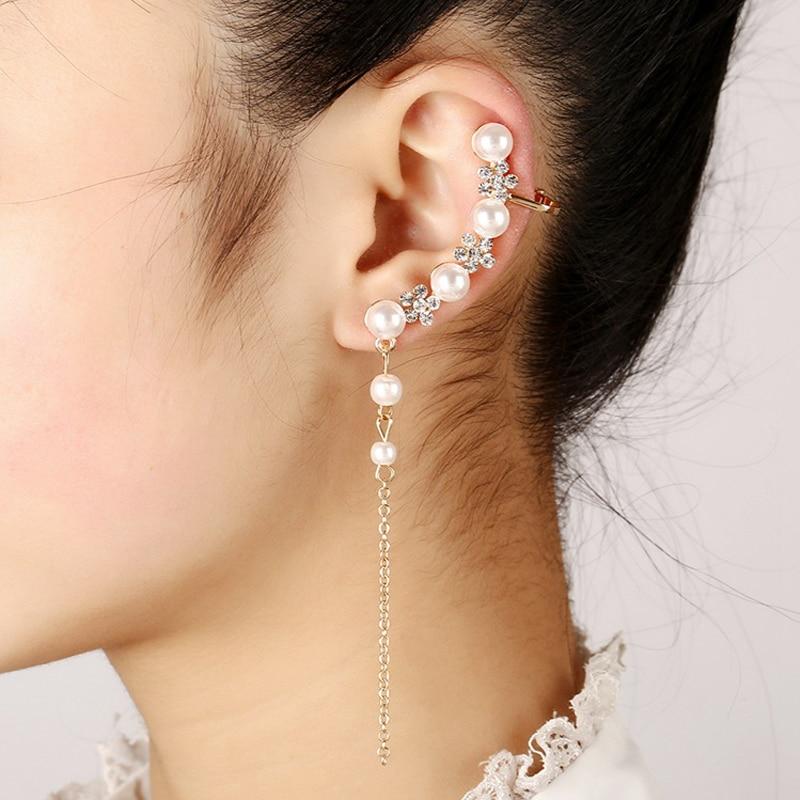 성격 여자 패션 시뮬레이션 된 진주 술 합금 클립 귀걸이 귀여운 스타일 여자 크리스탈 눈송이 귀 뼈 클립 귀 커프스