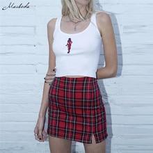 Женская клетчатая короткая облегающая мини юбка карандаш с высокой талией на молнии сзади новинка