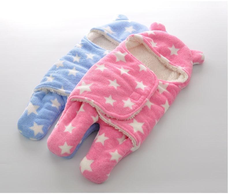 Newborn-Sleepsacks-Winter-for-Stroller-Heavy-Baby-Swaddle-Blanket-With-Star-White-Fleece-Baby-Sleeping-Bag-Bedding-Accessories-2