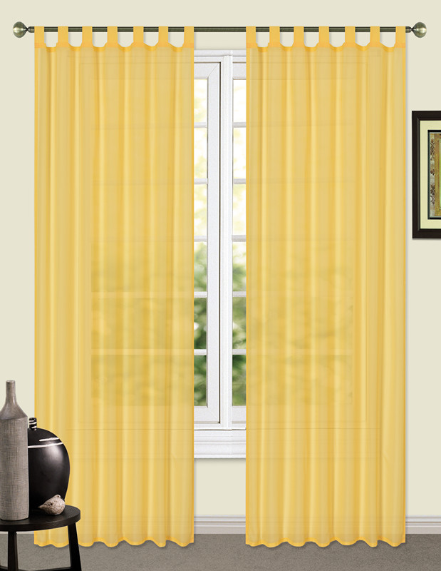 Basic Design solid color Voile Curtain tab top Door Window Curtain Sheer loops Voile Curtain Drape Valance House Decoration