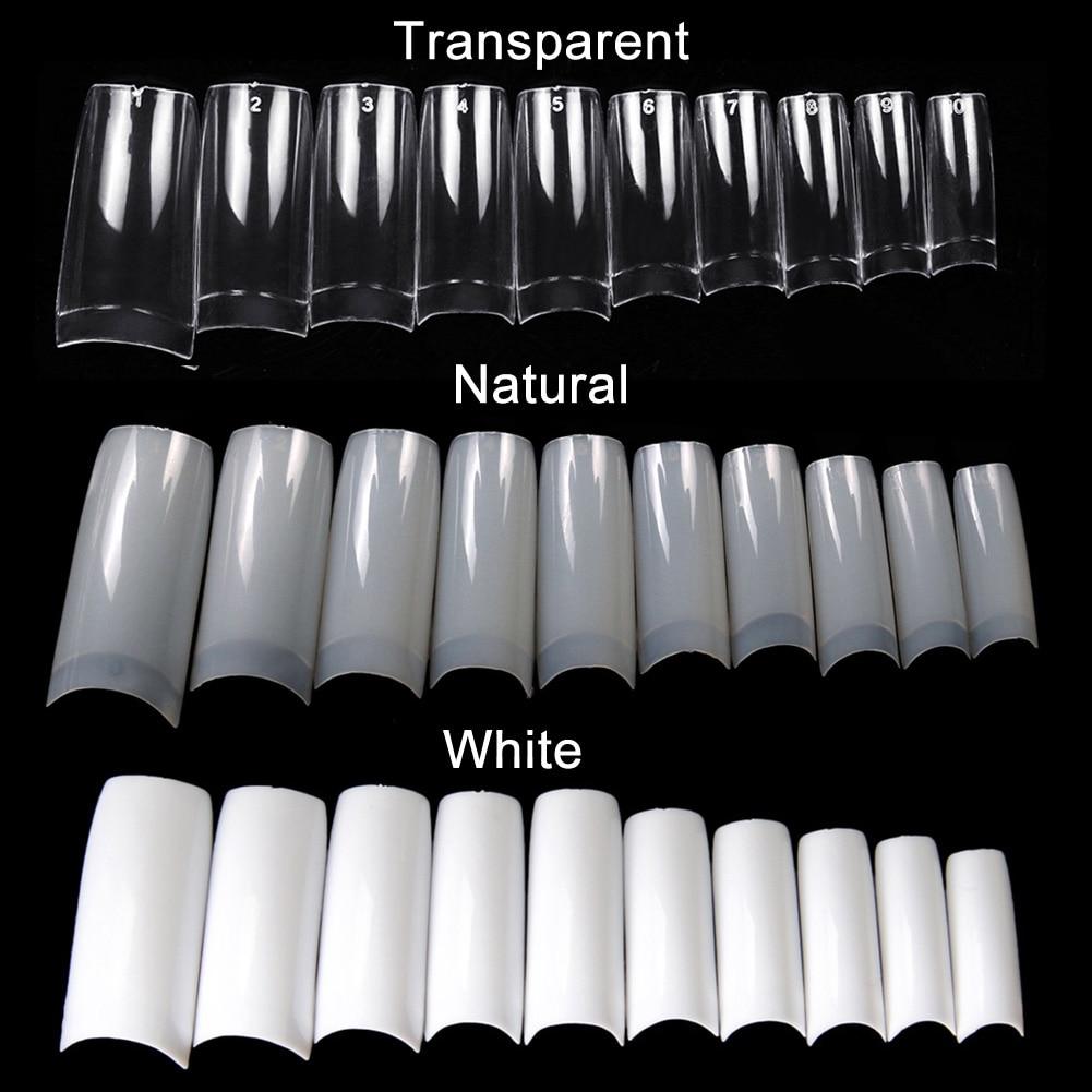 100/500 шт., накладные ногти, полупрозрачные накладные ногти, накладные ногти для французского маникюра, акриловый УФ-гель, инструмент для само...
