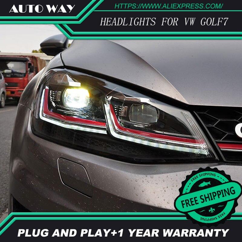 Стайлинга автомобилей H7 фара чехол для VW Golf7 Гольф 7 фары Гольф 7 MK7 2014 2015 светодио дный фар DRL Объектив Двойной Луч Биксеноновая