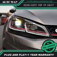 Стайлинга автомобилей H7 фара чехол для VW Golf7 Гольф 7 фары Гольф 7 MK7 2014 2015 светодиодный фар DRL объектив двойной луч Биксеноновая