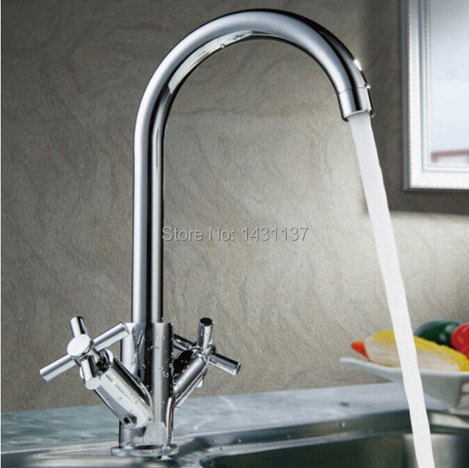 ФОТО Chrome brass kitchen faucet with Hot and Cold Water no lead sink basin bathroom faucet tap mixer