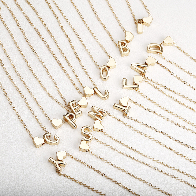 Gold Letter Initials Necklaces Personalized Pendant For Women Girls