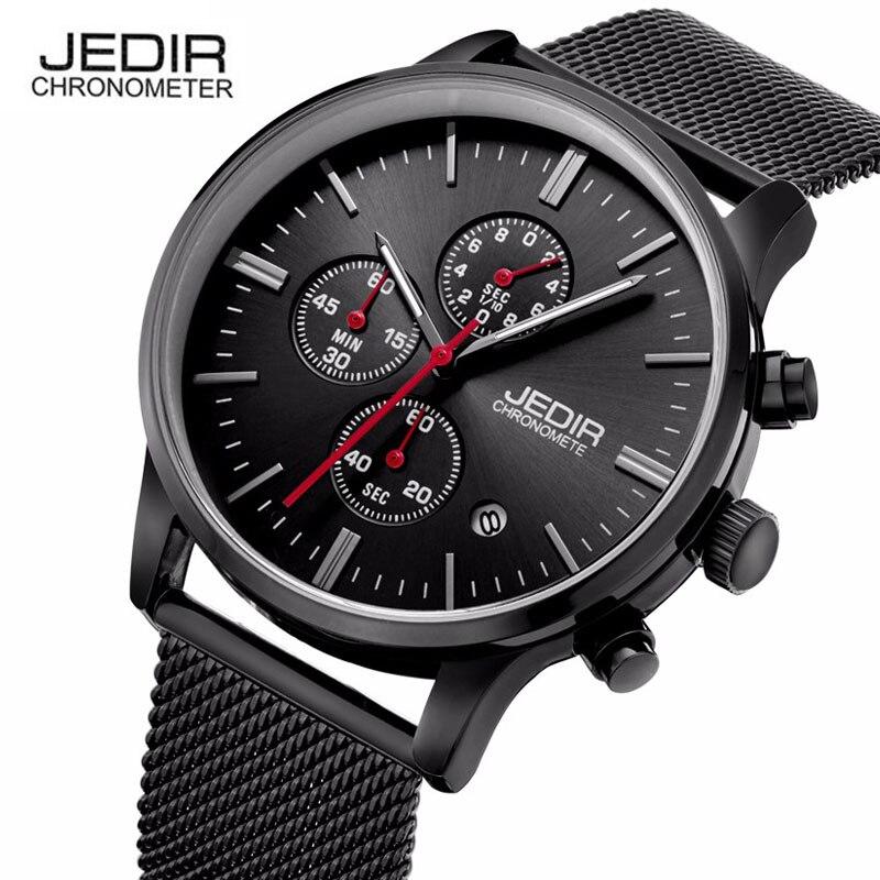 JEDIR simple stylish Watches men Stainless Steel Quartz-watch thin Dial Clock man megir Relogio Masculino montre erkek saat N73
