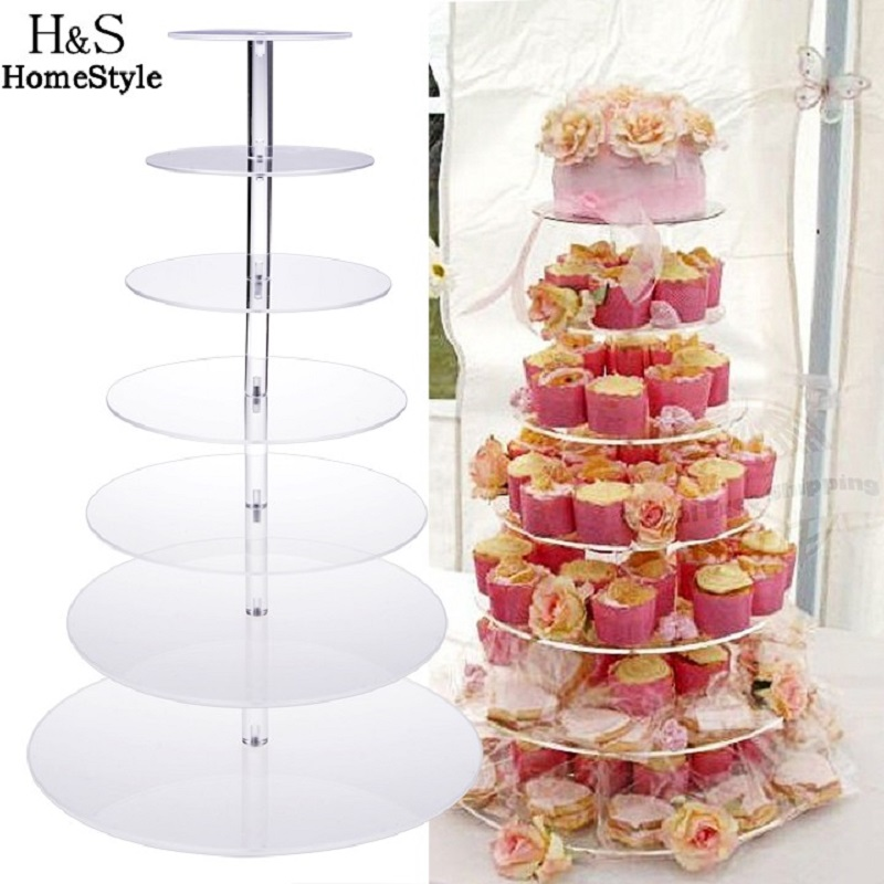 Homdox 7 Tier Kitchen Cake Plate Crystal Clear Circle Round Cupcake Plate Stand for Wedding Party Cake Display Decoration N20*