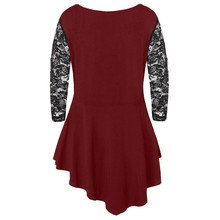 Lace Shirt women Plus Size Solid Floral Lace Tunic O-Neck Three Quarter Womens tops