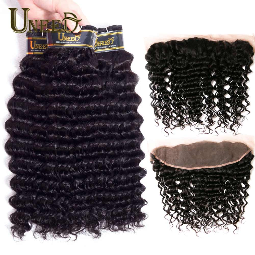 Uneed Deep Curly Hair Weaves Lace Frontal Closure With Bundles Malaysian Deep Wave 100% Human Hair 3Bundles With Closure Frontal