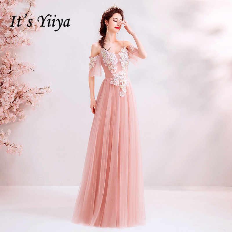 זה YiiYa ורוד שמלת ערב קו קצר שרוול רקמת ארוך שמלות נשף אשליה ואגלי פרחוני V-צוואר המפלגה שמלות E179