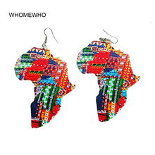 WHOMEWHO Natural Wood Africa Map Double Sided Printed Ear Earrings Vintage Native African Afro Jewelry Wooden DIY Club Accessory