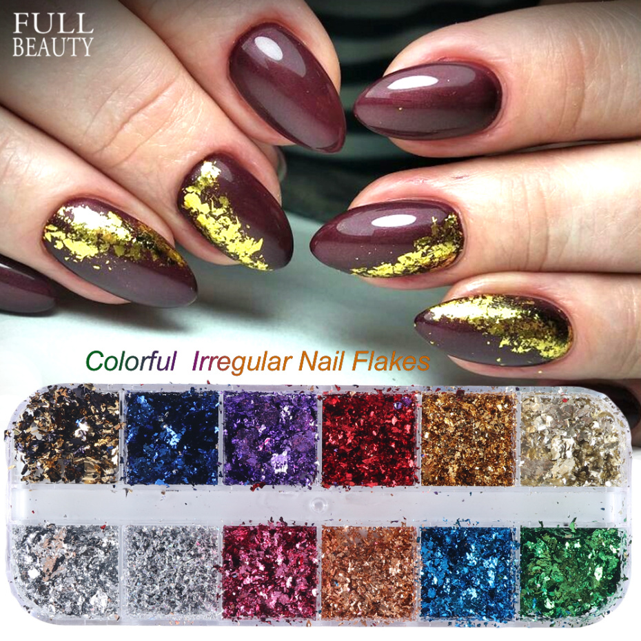 12 Grid Broken Paillette Nail Glitter Irregular Mirror Nail Flakes Sequins Holographic Powder Nail Decoration Gel Polish CH950 1-in Nail Glitter from Beauty & Health