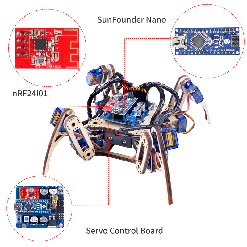 Sunfounder remote control crawling quadruped robot model
