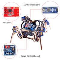 SunFounder Remote Control Crawling Quadruped Robot Model V2.0 DIY Wooden Kit for Arduino Nano Servo Motor RC Smart Toys Detailed