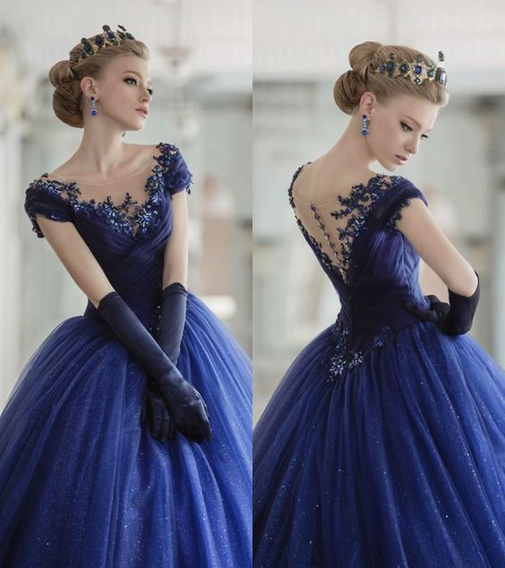 Volta 2016 Elegante Colher Applique Beading Longo Azul Royal Vestido de Baile Ver Através de Vestidos de Noite Vestidos de Festa