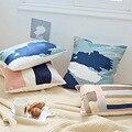 Домашний декор вышитая наволочка для подушки розовый синий абстрактный полосатый геометрический холст хлопок квадратная вышивка наволочк...