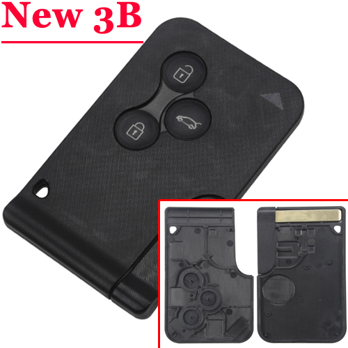 new 3 button card key case with printed Button for Renault megane full set uv ink printed barcode card and plastic member key card 3 part supply