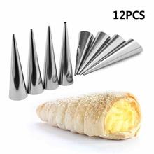 12 adet Yüksek Kaliteli Konik Tüp Koni Rulo Kalıpları Paslanmaz Çelik Spiral Kruvasan Kalıpları Pasta Krem Boynuz Kek ekmek kalıbı