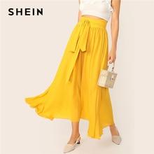 SHEIN Tie Waist Flowy Skirt Yellow Solid Summer Zipper Boho Maxi Flared Skirt 2019 Basic Knot High Waist Womens Skirt