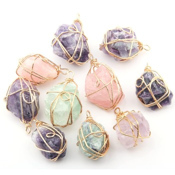 Wholesale Rose Quartzs Amethysts Irregular Natural Stone Pendants DIY for Necklace or Jewelry Making