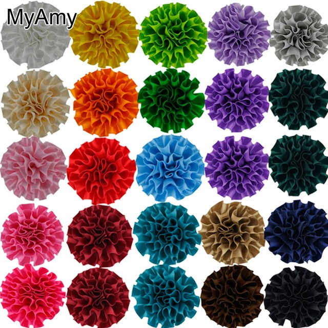 """MyAmy 100pcs/lot DIY Beauty Multilayer Assorted Colours Decorative 2"""" Polyester Flowers Girls Hair Accessories Free Shipping"""