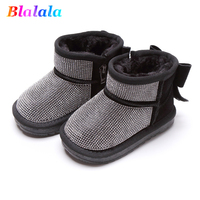 Winter warm velvet bow faux crystal baby girls snow boots kids ankle boots children fashion Designer shoes 12.5 18cm