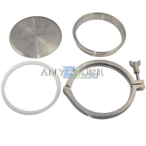 1set 45mm 1 75 1 75 1 3 4 inch od ss304 ss316 304 316 stainless steel sanitary pipe weld ferrule tri clamp ptfe gasket 159mm 6 End Cap +6 Weld on Ferrule +6 Tri-clamp +6 PTFE Gasket Sanitary SUS SS304 Set Ferrule Size 183mm