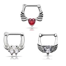 Hot Nose piercings 316L Stainless Steel Septum Clicker Hinged Butterfly Shaped+ Wings White CZ+ Wings Heart Clear CZ Nose Ring