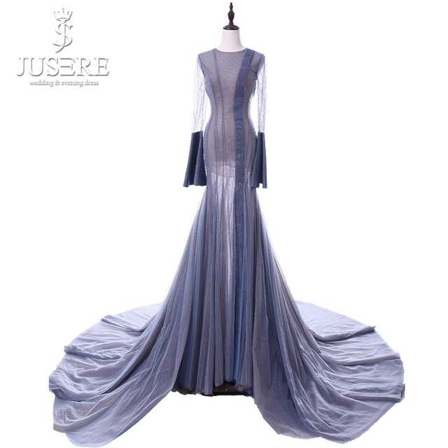 Long Elegant Purple Gown Jewel Neckline Open Back Pleat Train Shiny Fabric Illusion With Lining Skirt Cuff  Evening Dress 2018