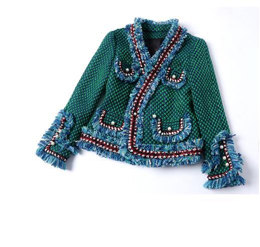 Franges Perles Avec Luxe De Poches Mode rose Tweed Vert Devant Évasées Veste Piste Manches Détail 2017 Garniture Longues Nouvelle À Vert zC4xa