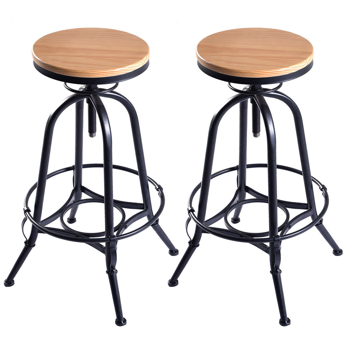 Giantex Set of 2 Vintage Bar Stools Industrial Wood Top Metal Design Pub Stool Chairs Adjustable Swivel Bar Stool 2*HW51305