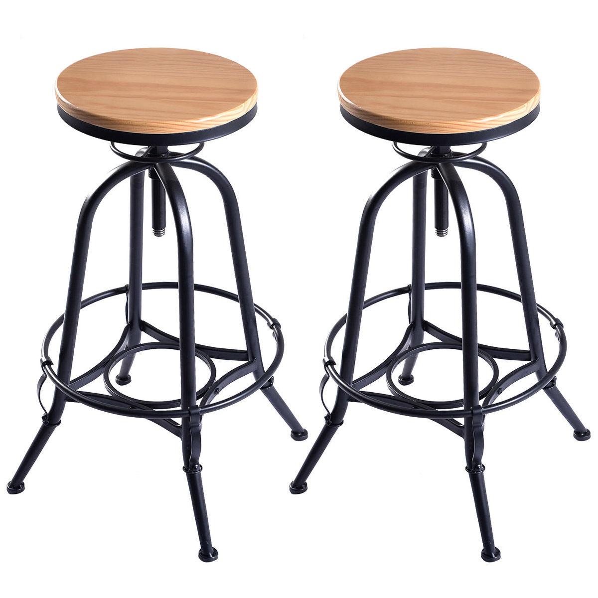 Giantex Set Of 2 Vintage Bar Stools Industrial Wood Top Metal Design Pub Stool Chairs Adjustable Swivel Bar Stool 2*HW51305