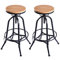 Giantex Set Of 2 Vintage Bar Stools Industrial Wood Top Metal Design Pub Stool Chairs Adjustable