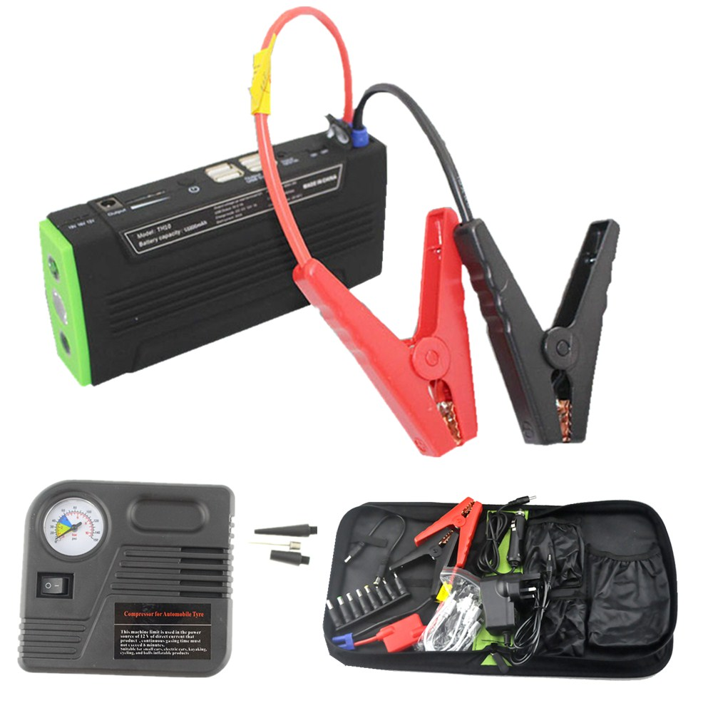 Multi-function Jump Starter Emergency Car Auto Power Bank External Battery Charger For Laptop Mobile Phone with pump car jump starter car power bank high quality mobile portable mini jump starter power battery charger phone laptop power bank