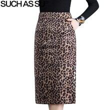 léopard mi taille jupe