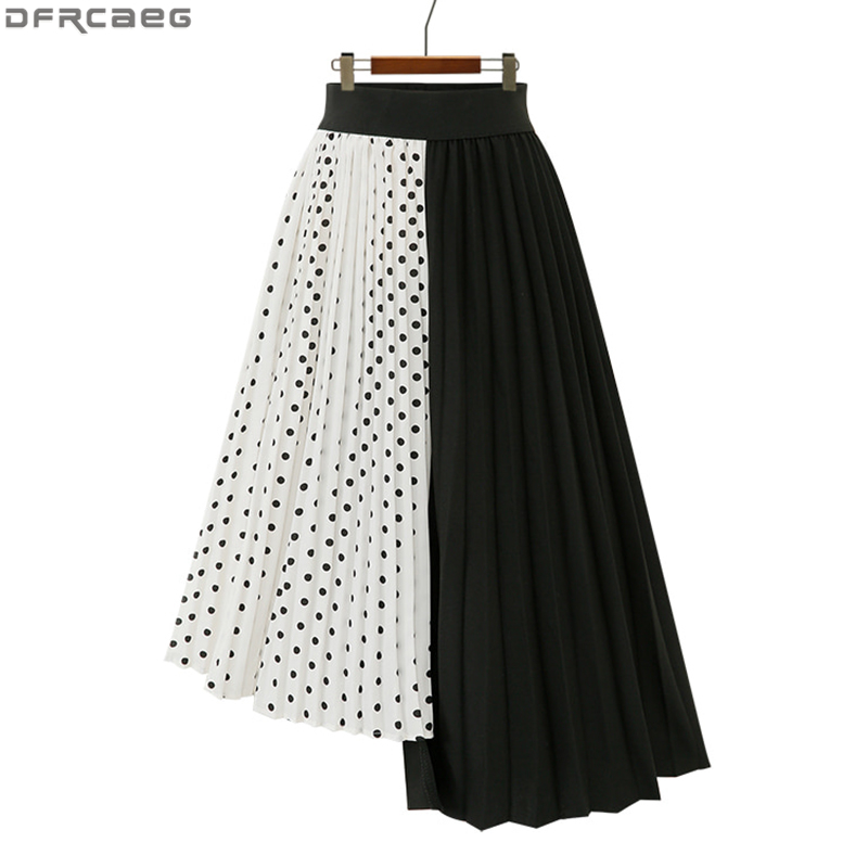Fashion Spliced Polka Dot Skirt Women Harajuku Irregular Midi Plus Size Faldas Largas Mujer Pleated Skirt White Black Jupe Femme