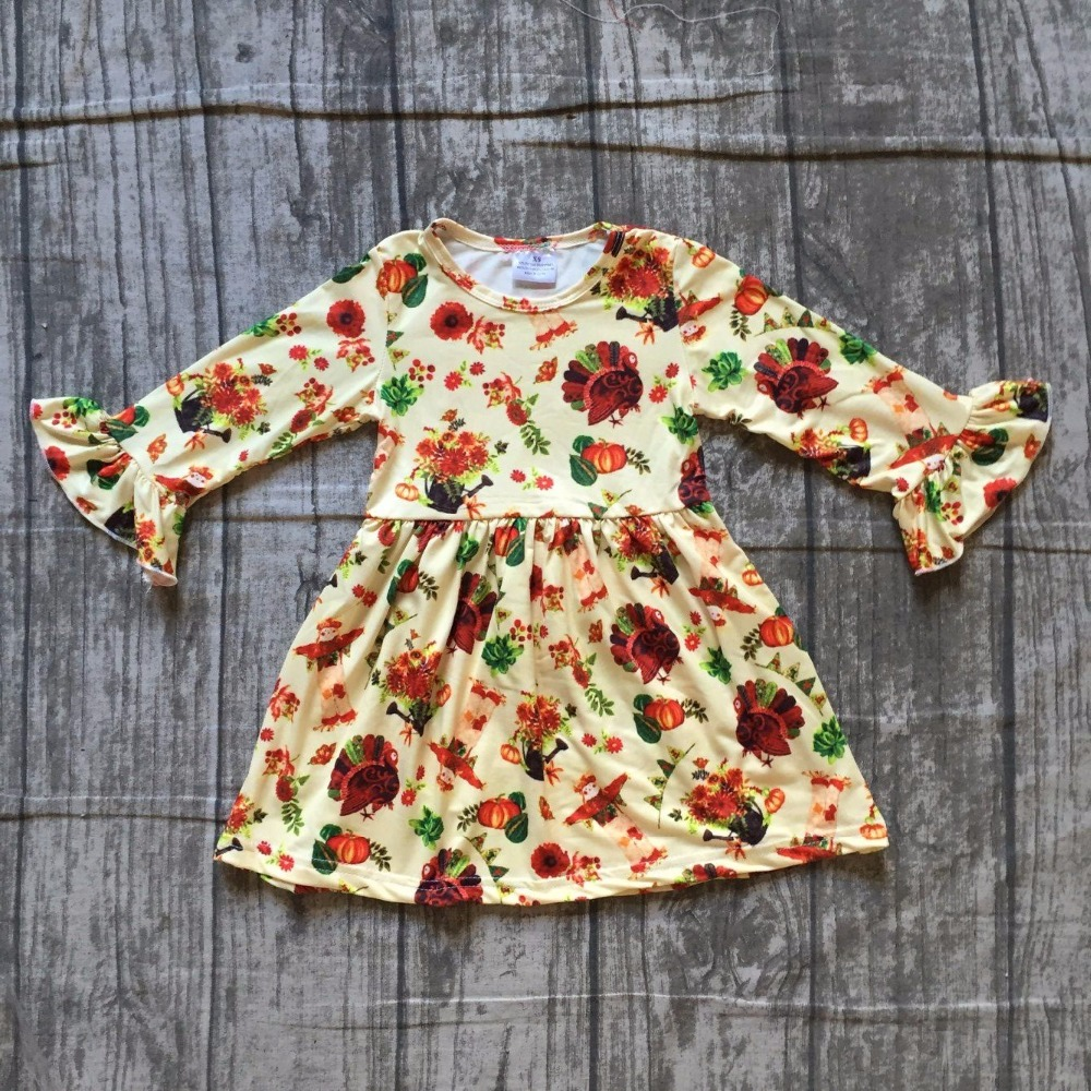 baby girls halloween dress baby kids Fall milk silk dress children pumpkin dress baby girls boutiques halloween party dress
