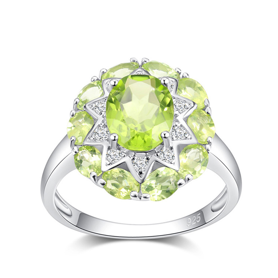 PJC Natural Gemstone 3.25cts Oval Manchurian Peridot With 0.17cts Round White Topaz 925 Sterling Silver Ring