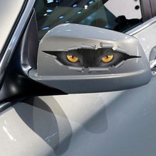 цены Sale 3D Car Styling Funny Cat Eyes Peeking Car Sticker Waterproof Peeking Monster Auto Accessories Whole Body Cover for All Cars