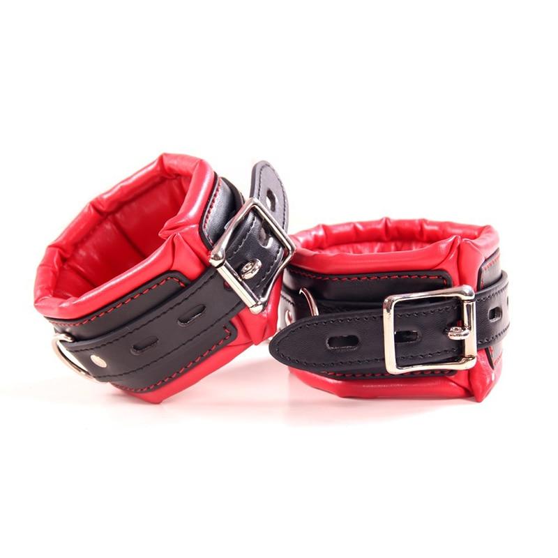 Buy BDSM Leather Handcuffs Footcuffs Erotic Flirting Fetish Sex Slave Bondage Restraints Ankle Cuffs Adult Games Sex Toys Couple